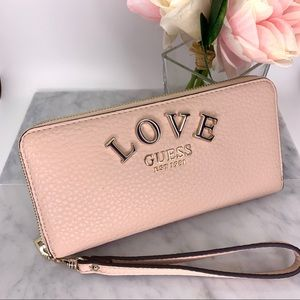 Guess Rose Pink Leather Wallet Clutch Purse - New